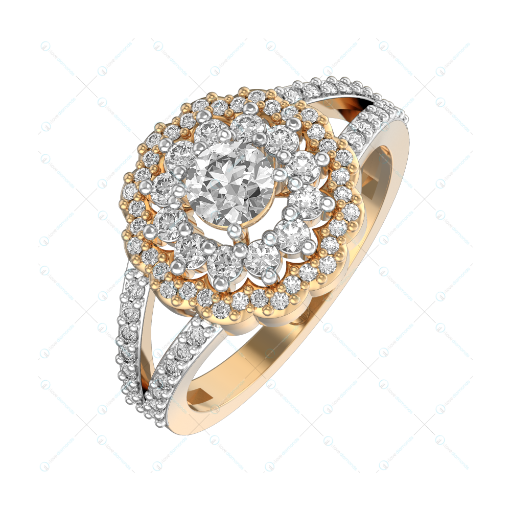 0.30 ct Embellished Magnificence Solitaire Engagement Ring in Yellow Gold for Women (Halo) v1