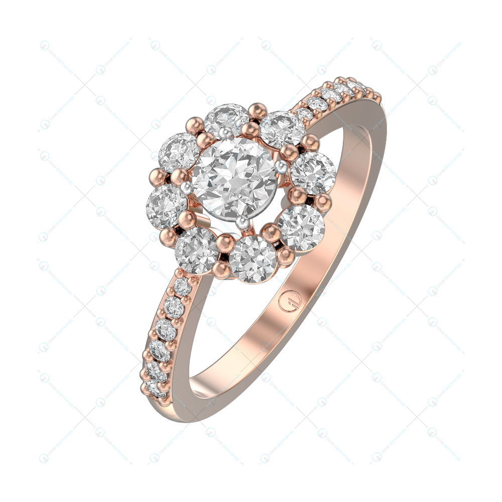 0.30 ct Beguiling Buttercups Solitaire Engagement Ring in Pink Gold For Women v1