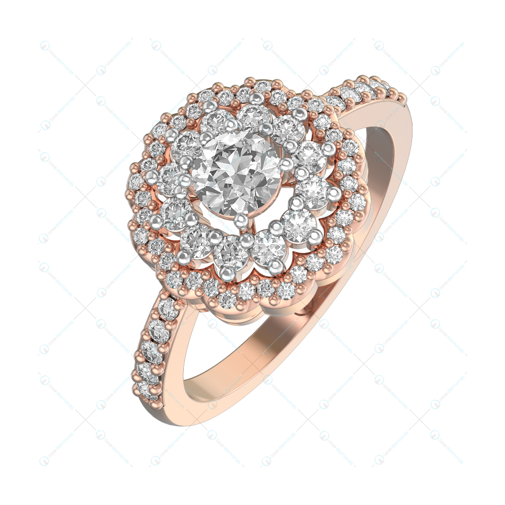 0.30 ct Eternal Amaryllis Solitaire Engagement Ring in Pink Gold for Women (Halo) v1