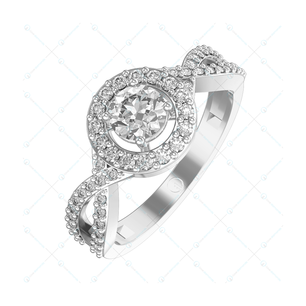 0.30 ct Knot in Infinity Solitaire Engagement Ring in White Gold For Women (Halo) v1