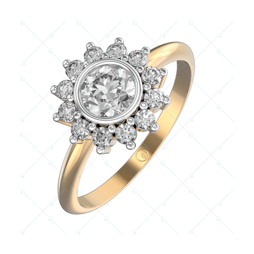 0.30 ct Blissful Blossom Solitaire Engagement Ring in Yellow Gold For Women v1