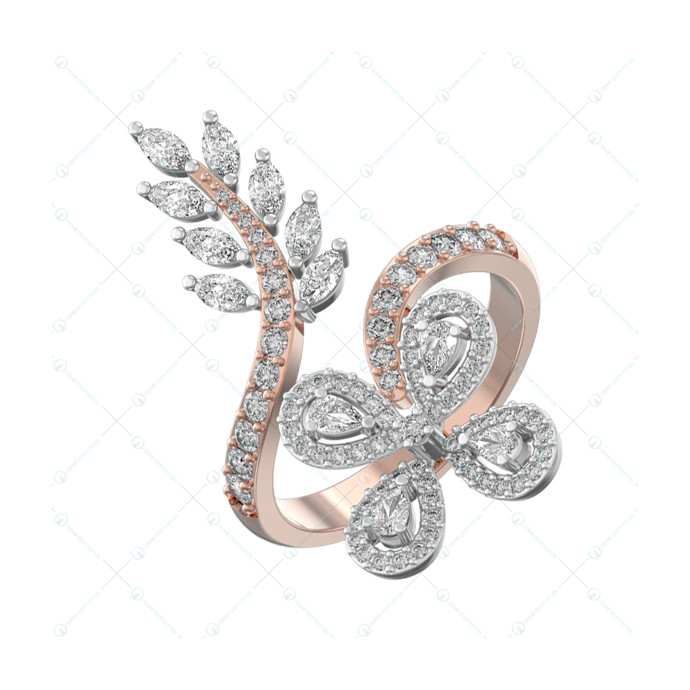 Ferns & Petals Cocktail Ring In Two tone For Women v1