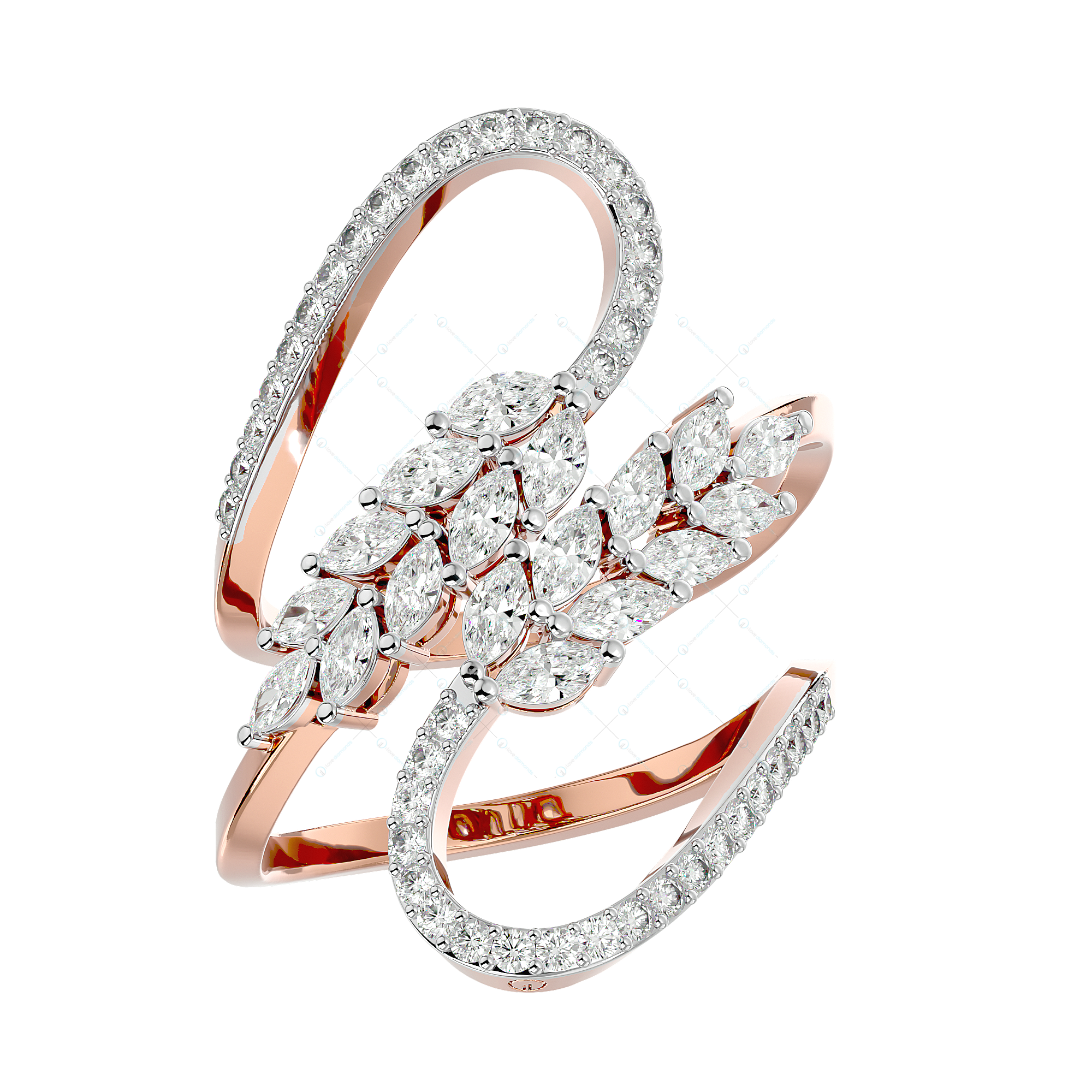 Twining Tendrils Diamond Ring In Pink Gold For Women v1