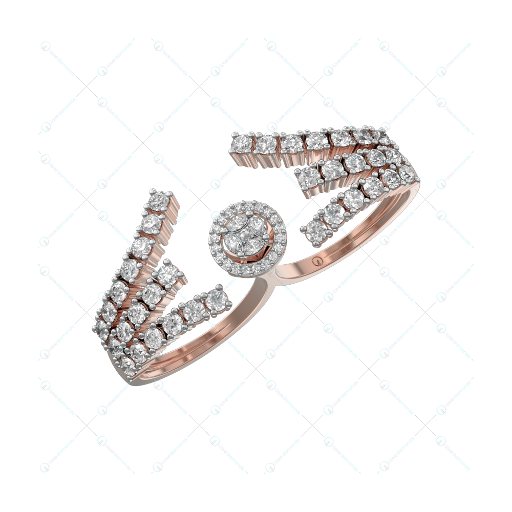 Charming Caress Diamond Ring In Pink Gold For Women v1