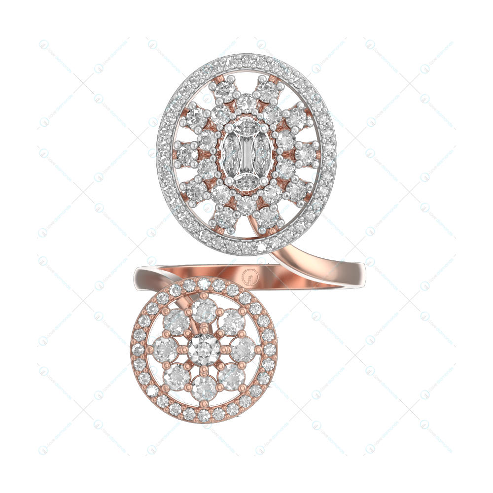 Queenly Mesmerizations Diamond Ring In Pink Gold For Women v2