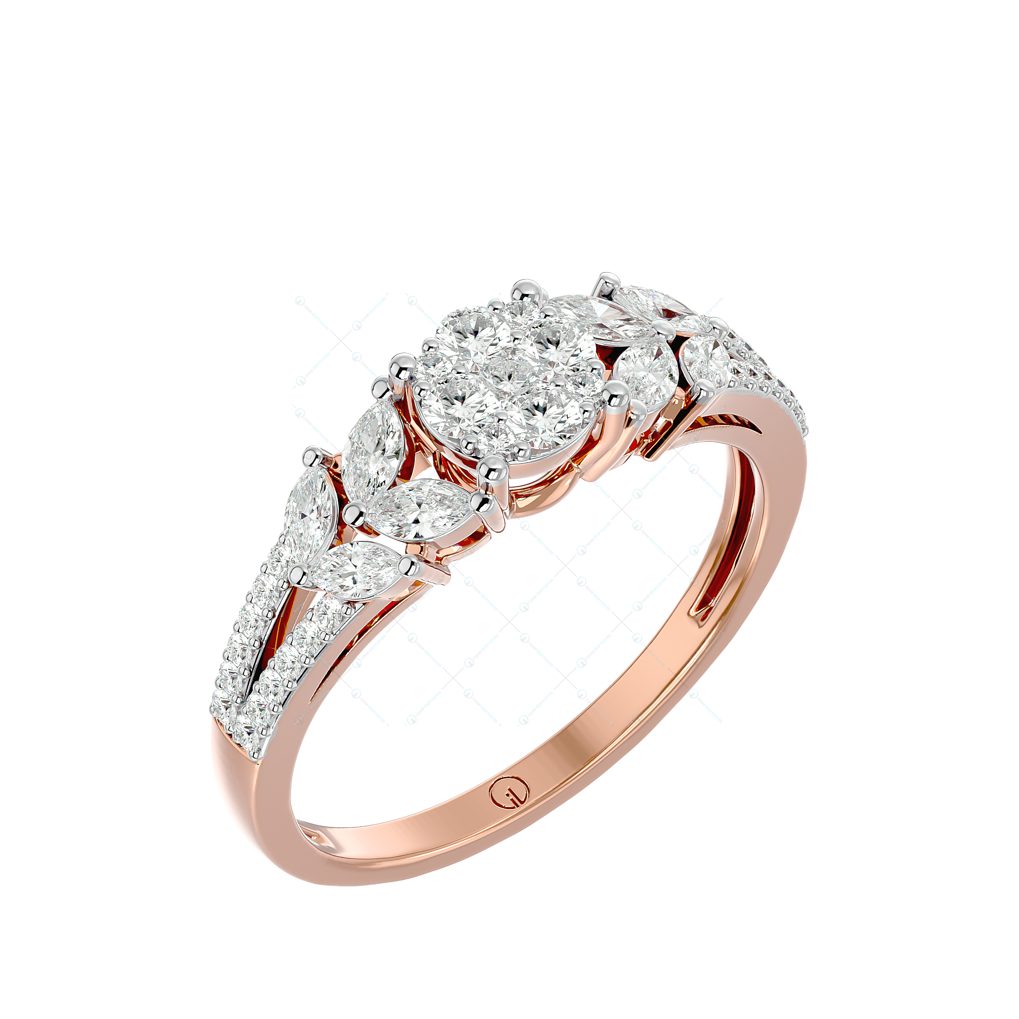 Beauteous Behold Diamond Ring In Pink Gold For Women v1