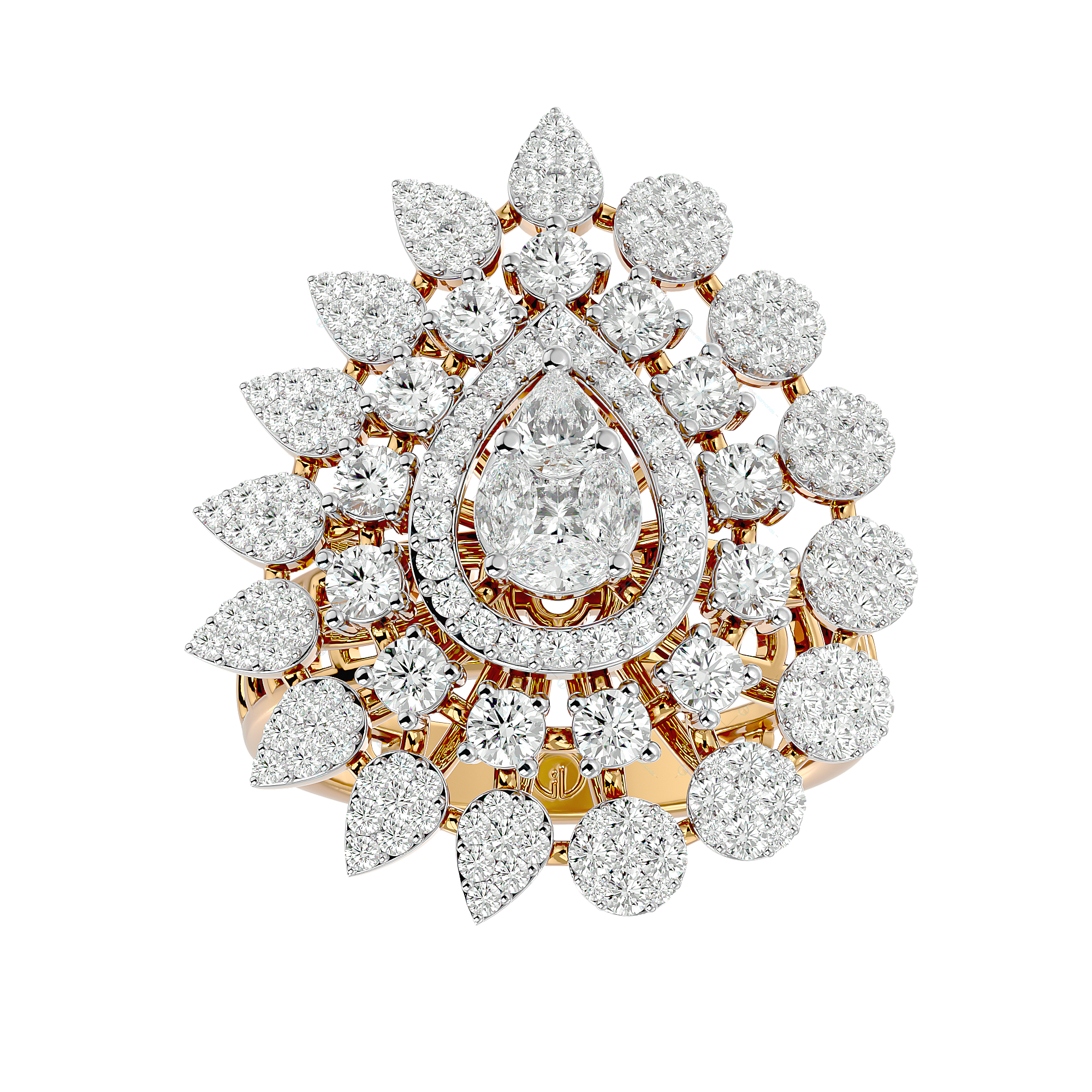 Baronial Blossoms Diamond Ring In Yellow Gold For Women v1