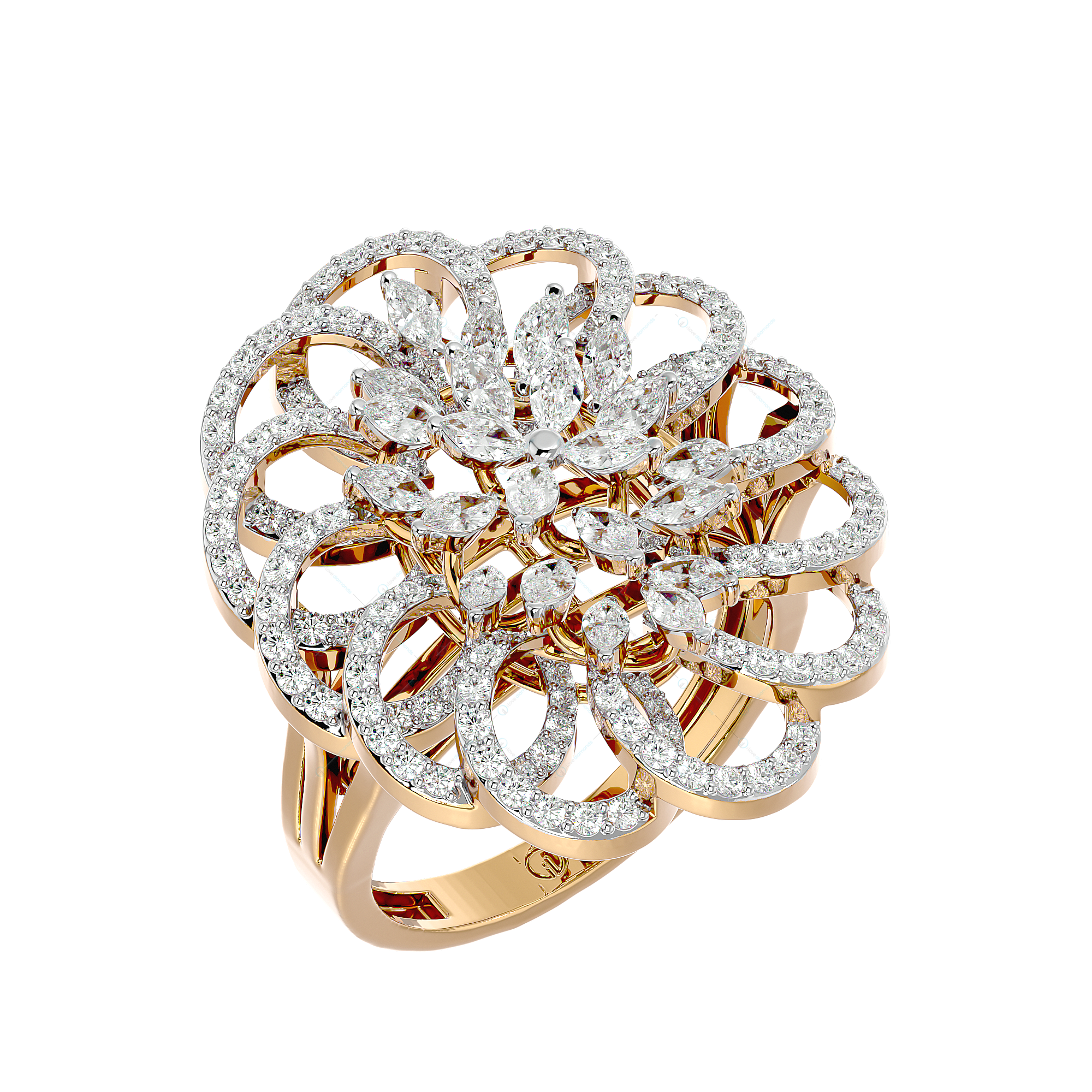 Blooming Opulence Diamond Ring In Yellow Gold For Women v1