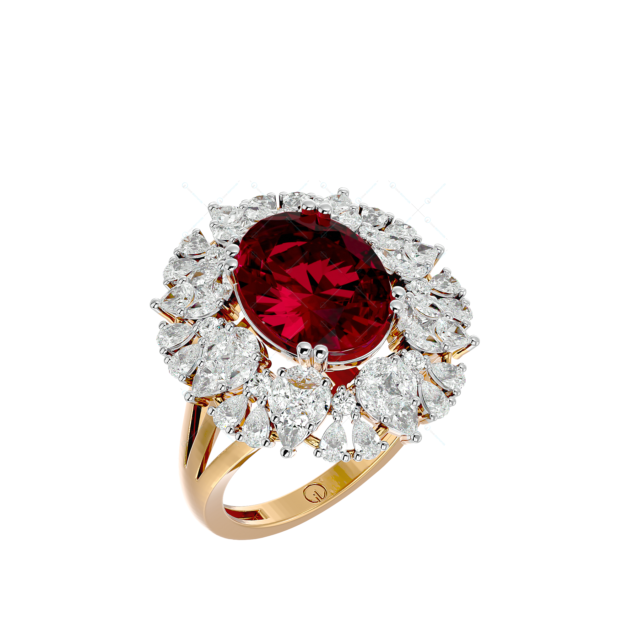 Cherry Red Coruscations Diamond Ring In Yellow Gold For Women v1