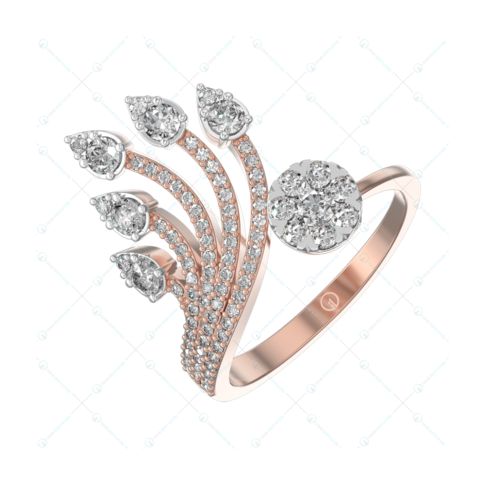 Sprouting Dazzles Diamond Ring In Pink Gold For Women v1