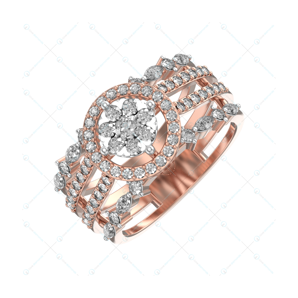 Quintessential Radiance Diamond Ring In Pink Gold For Women v1