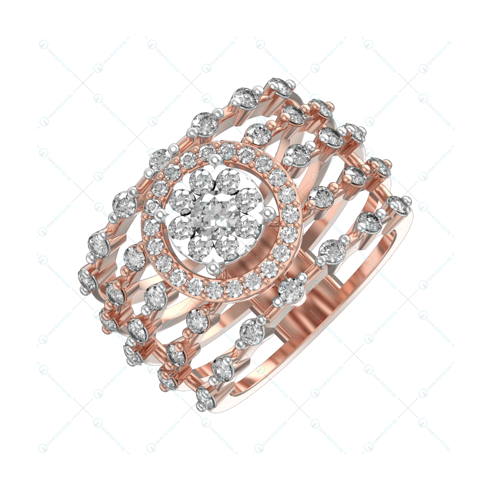 Twinkling Dewdrops Diamond Ring In Pink Gold For Women v1
