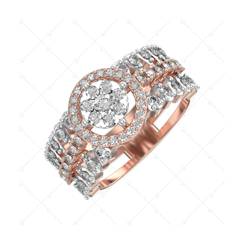 Gorgeous Dame Diamond Ring In Pink Gold For Women v1