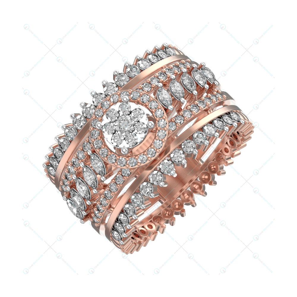 Magical Beauty Diamond Ring In Pink Gold For Women v1