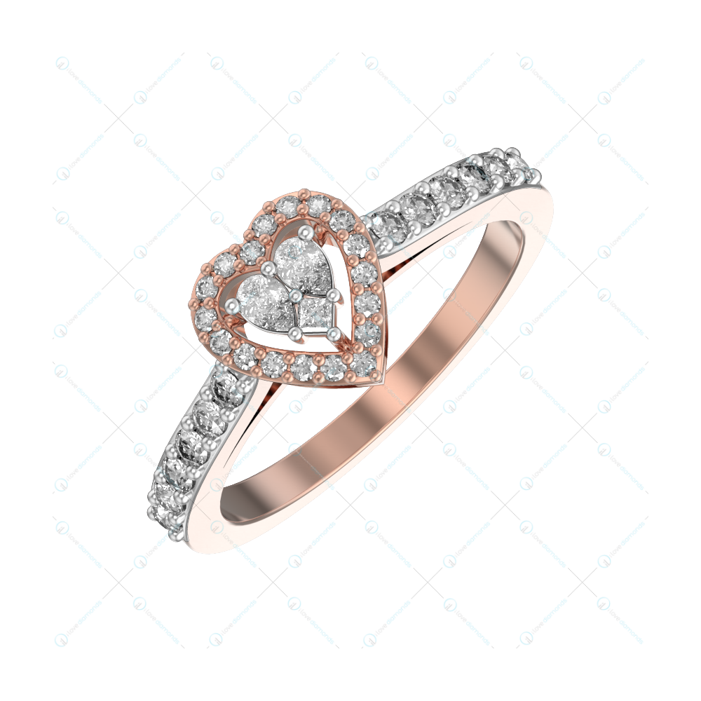 Glorious Love Diamond Ring In Pink Gold For Women v1
