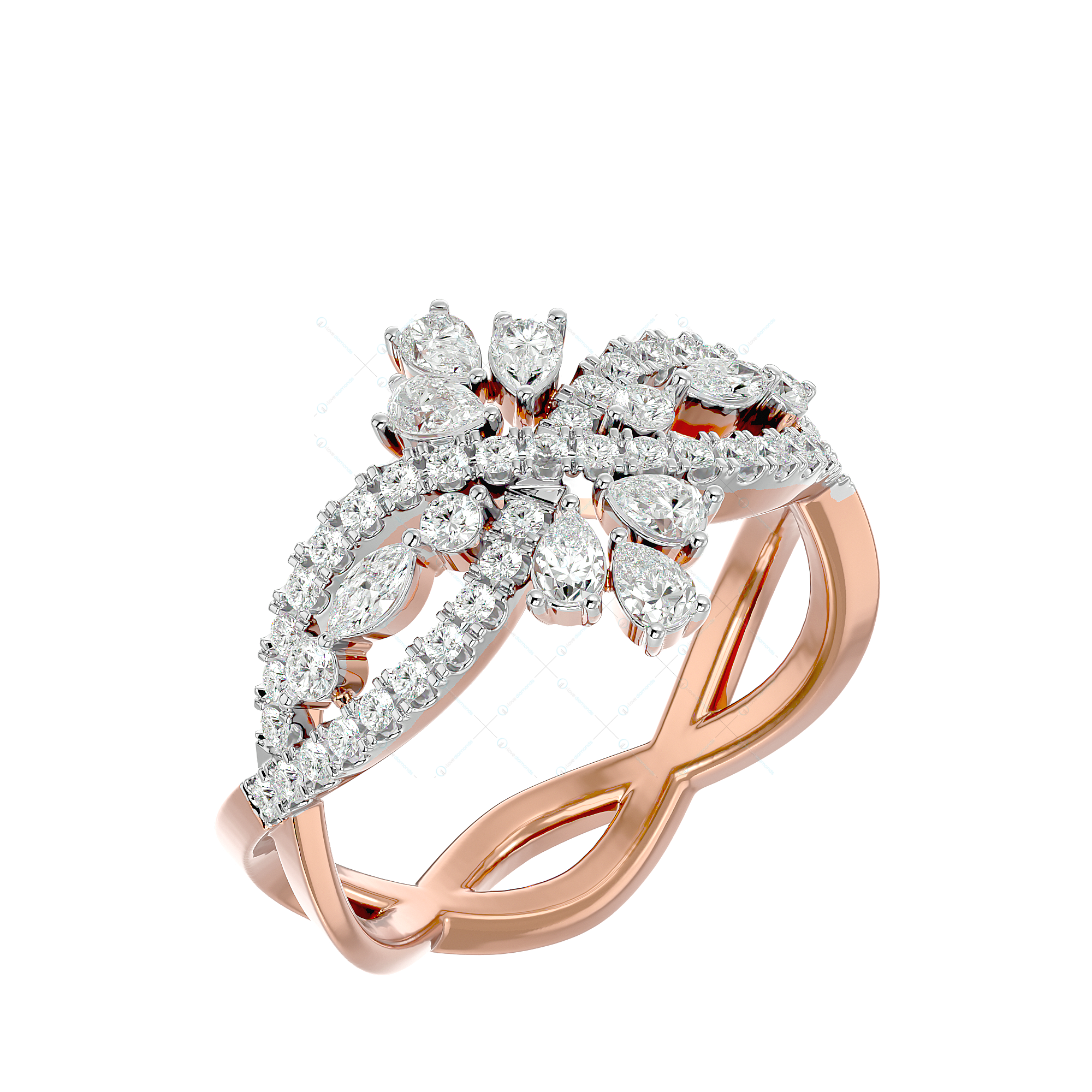 Pretty Mask Diamond Ring In Yellow Gold For Women v1
