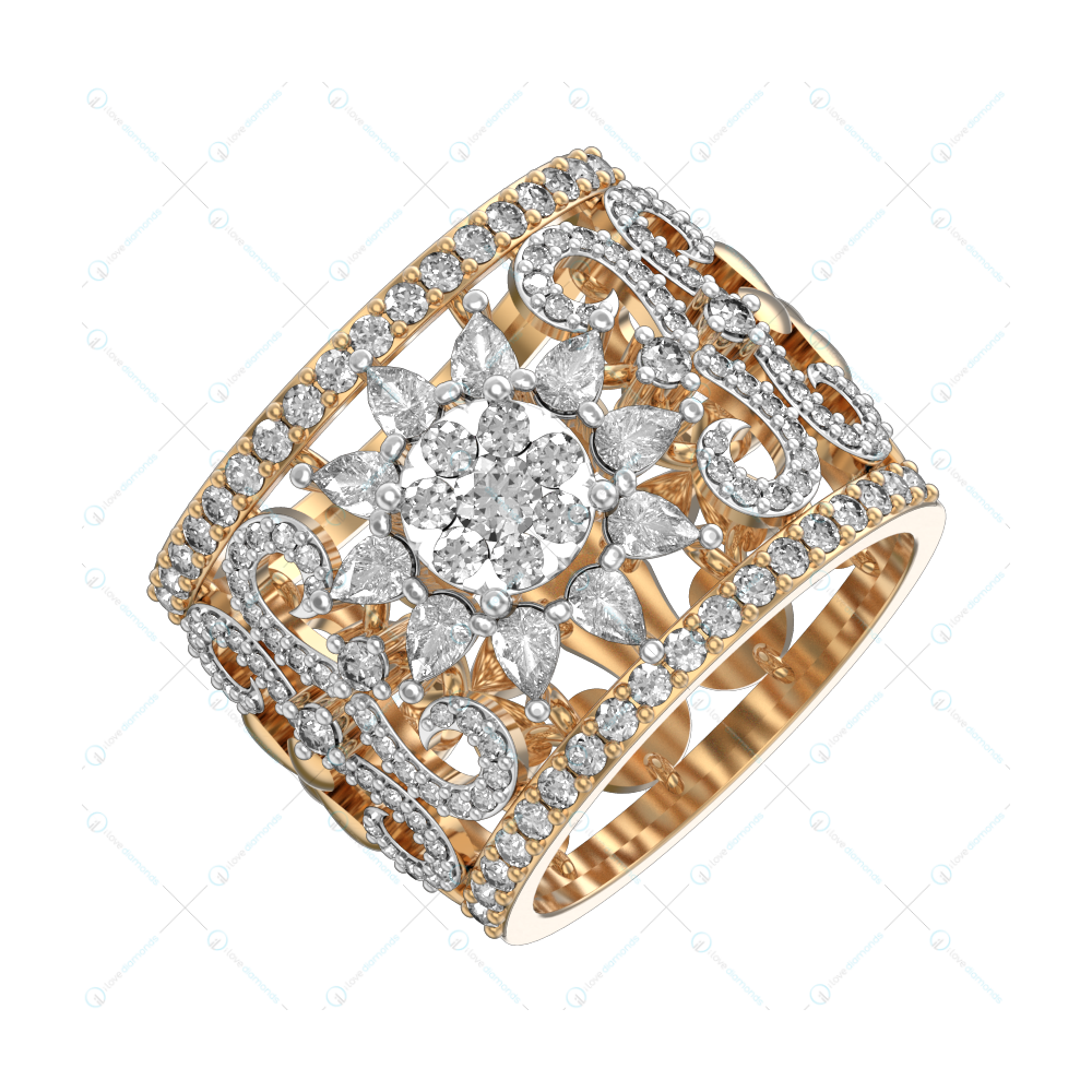 Sol Of South Diamond Ring In Yellow Gold For Women v1