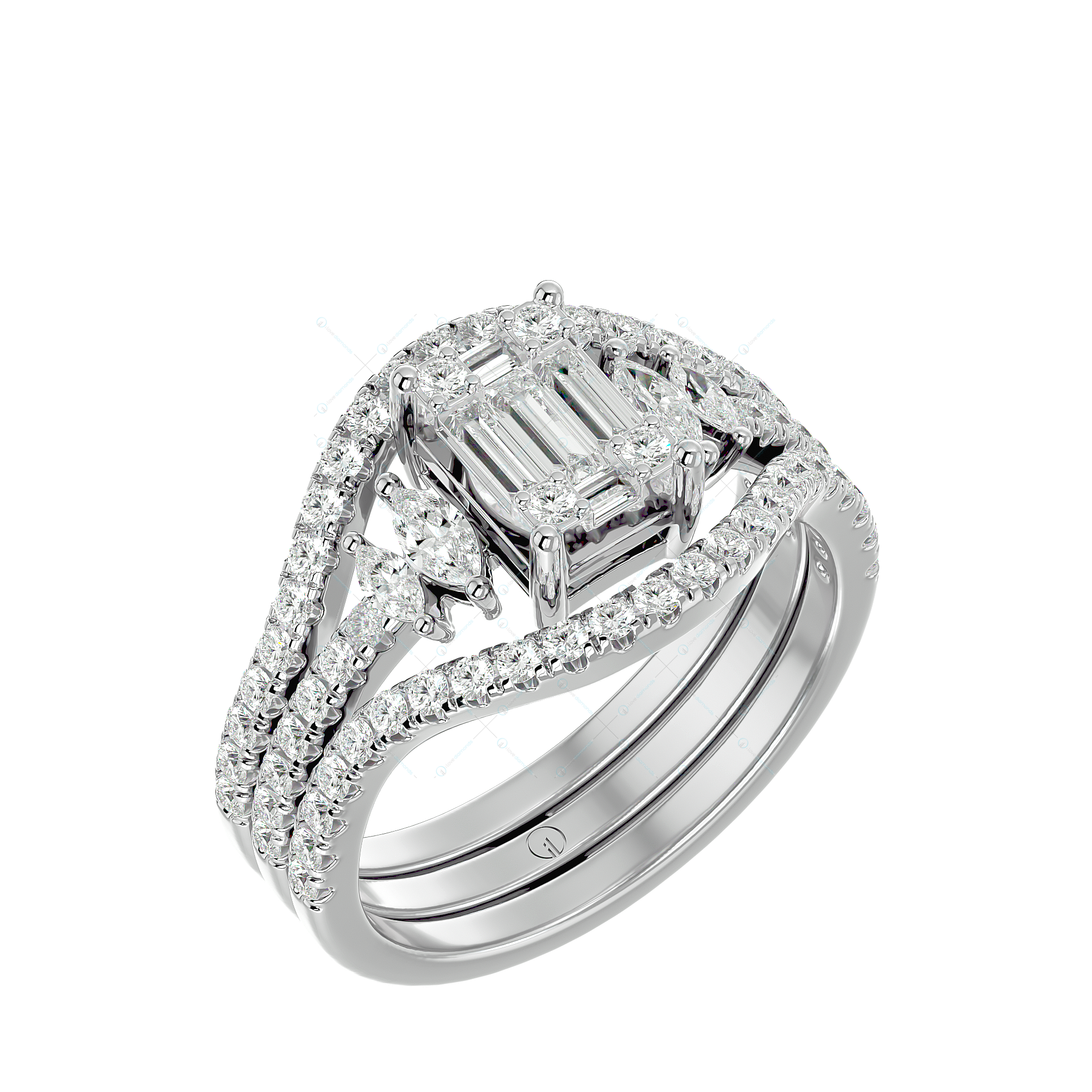Evergreen Charisma Solitaire Illusion Ring in White Gold for women v1