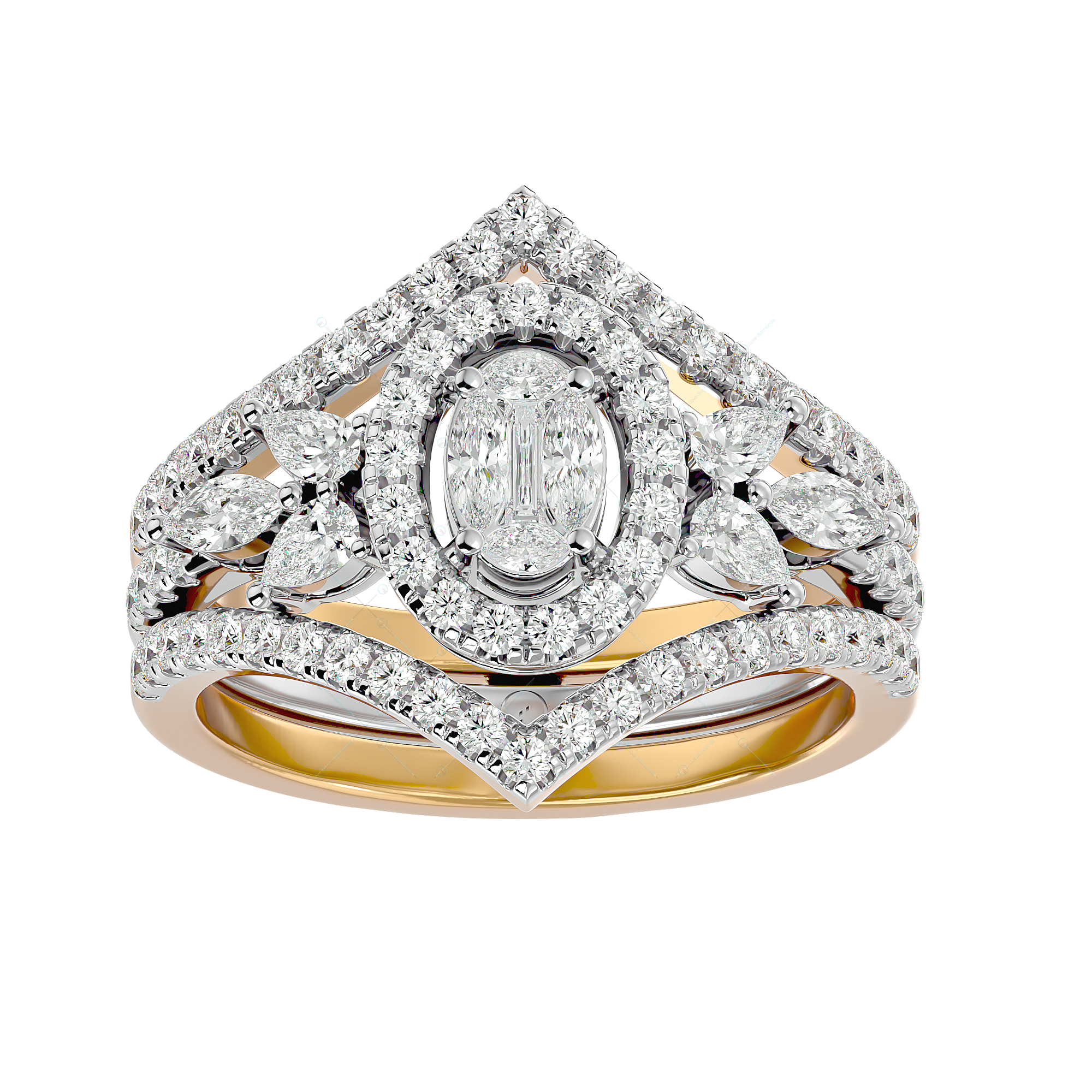 Breathtaking Beauty Solitaire Illusion Diamond ring in Yellow Gold for Women v2