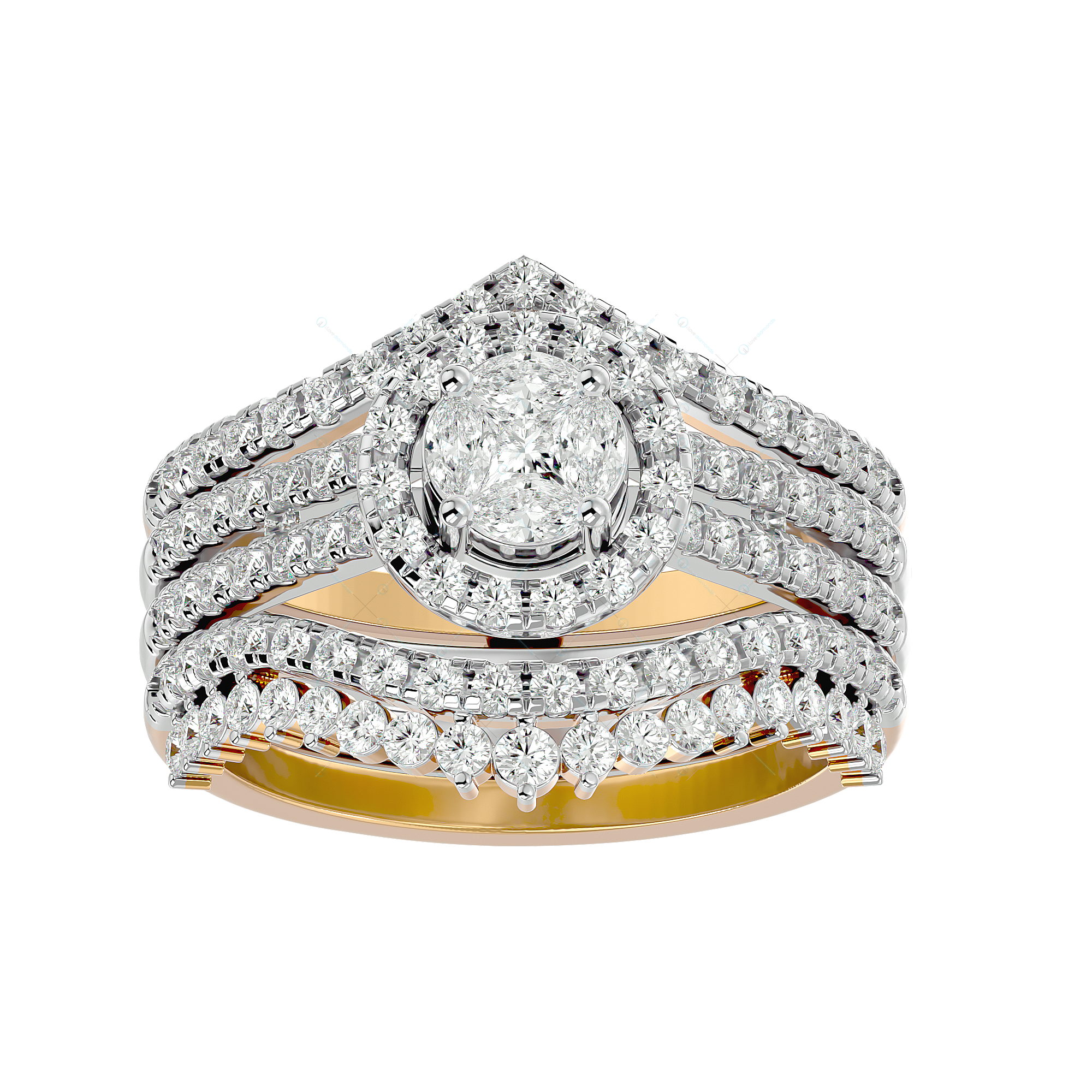 Thousand Sparkles Solitaire Illusion Diamond Ring in Yellow Gold for Women v2
