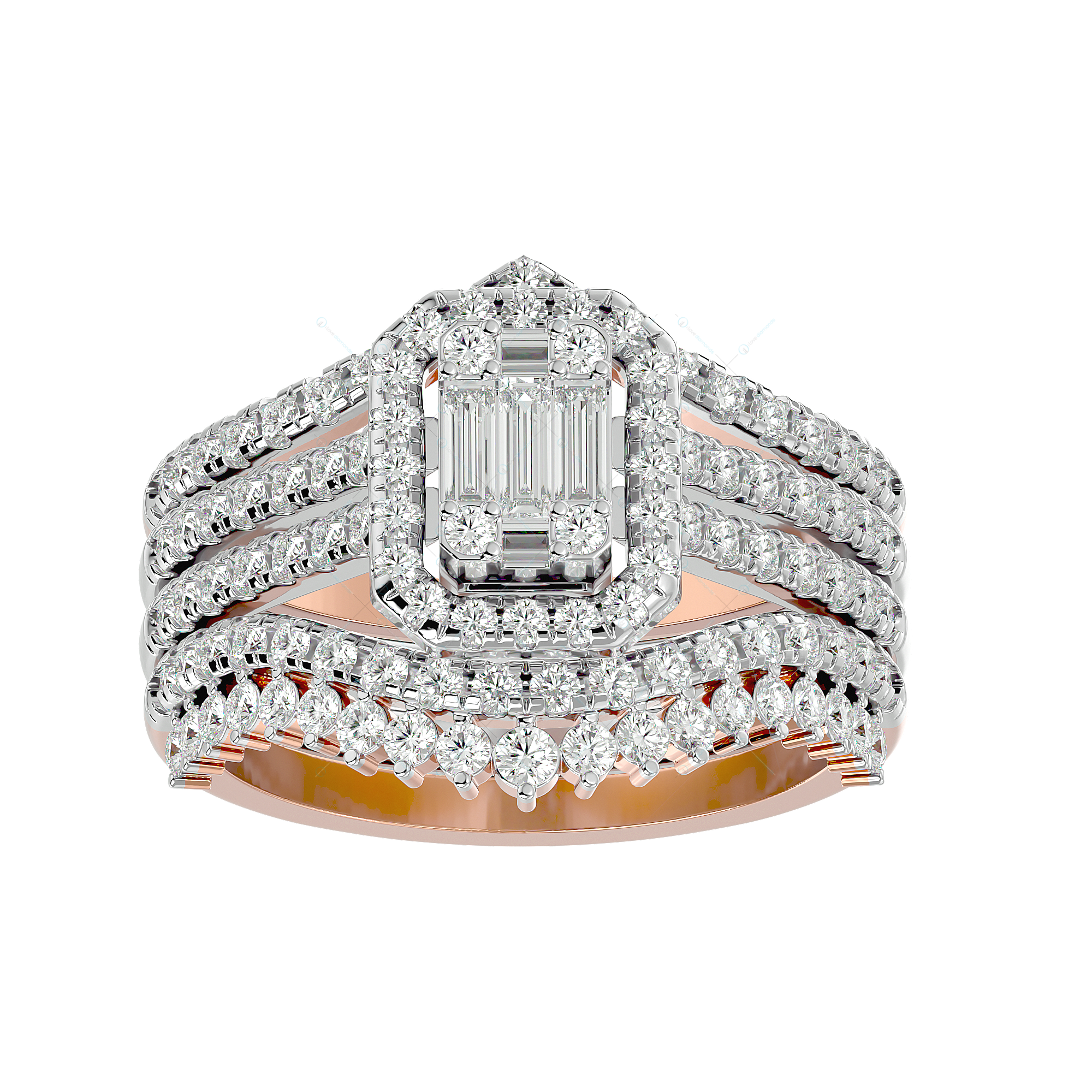 Majestic Marvel Solitaire Illusion Diamond Ring in Pink Gold for Women v2