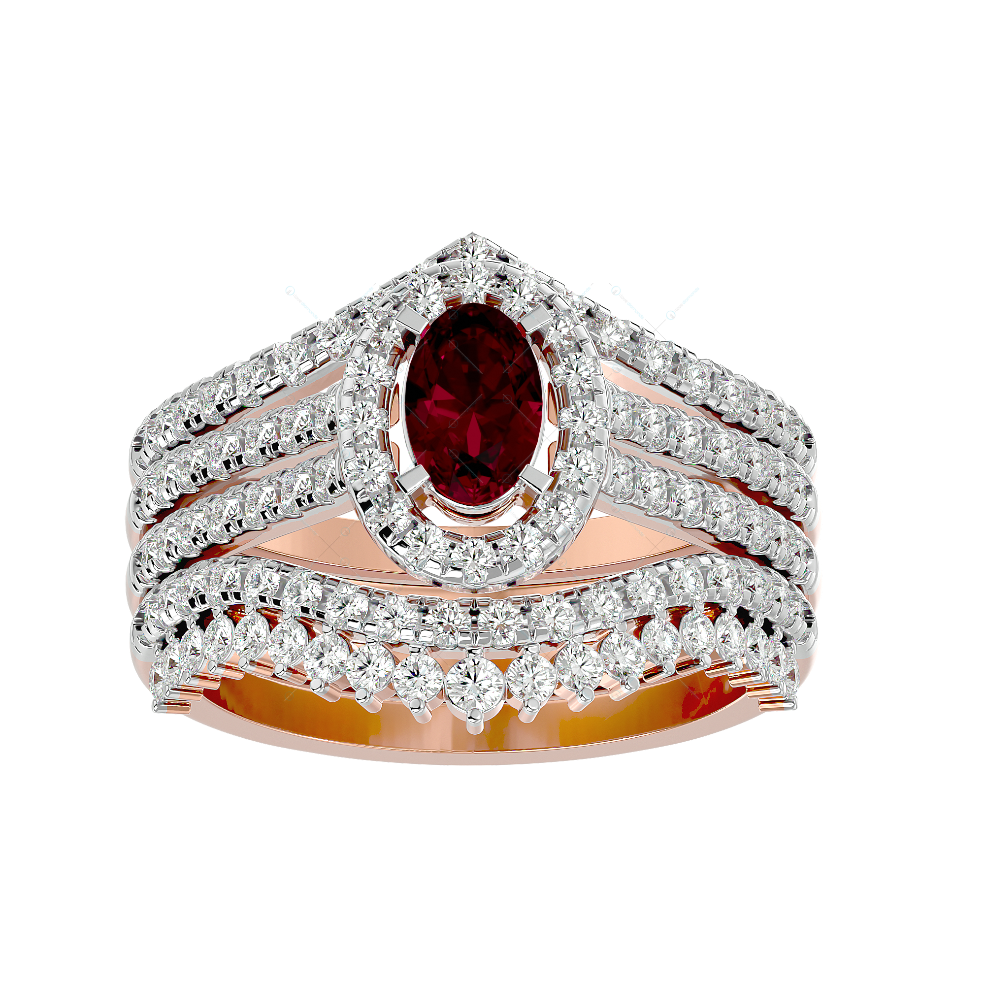 Beautiful Belle Diamond Ring in Pink Gold for Women v2