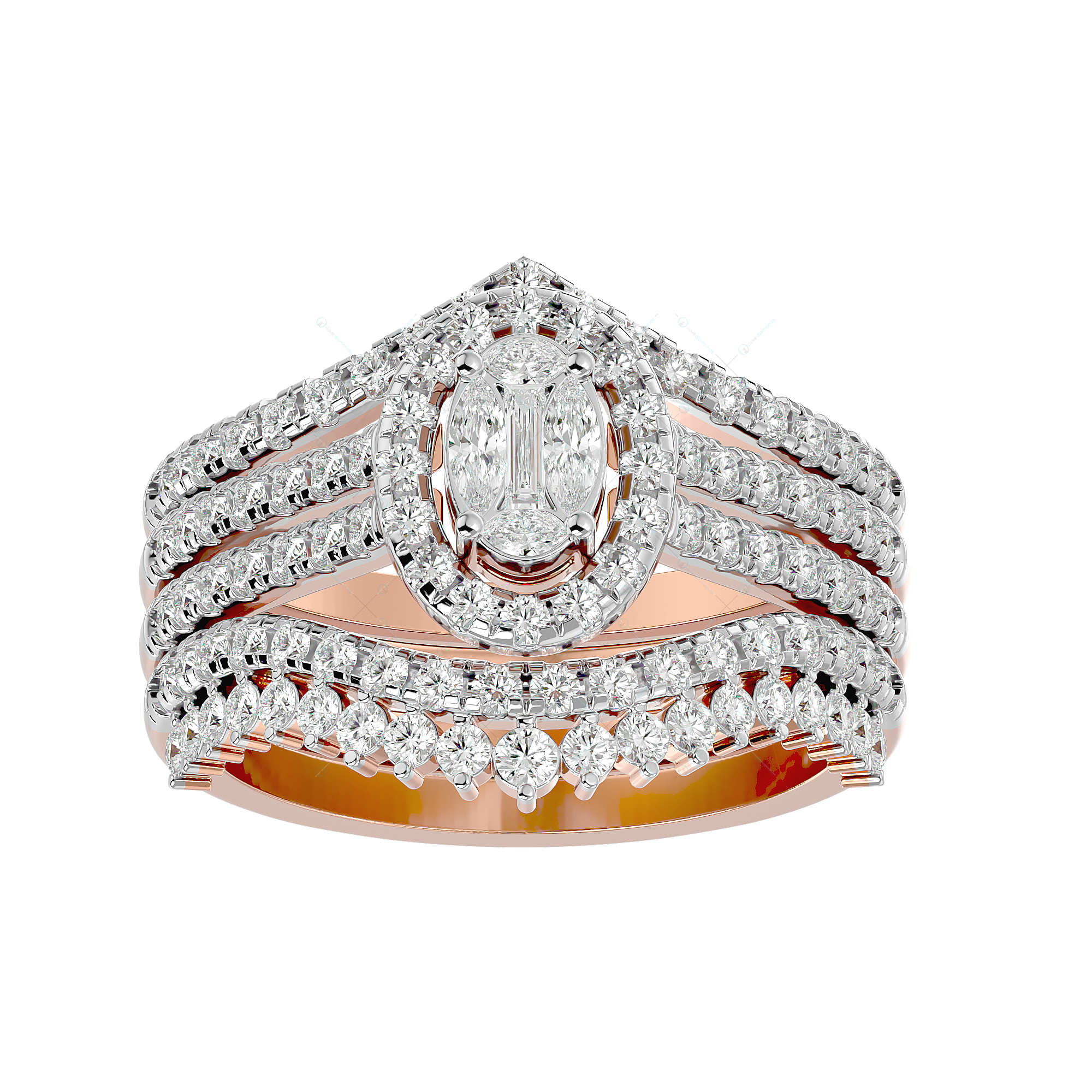Beautiful Belle Solitaire Illusion Diamond Ring in Pink Gold for Women v1