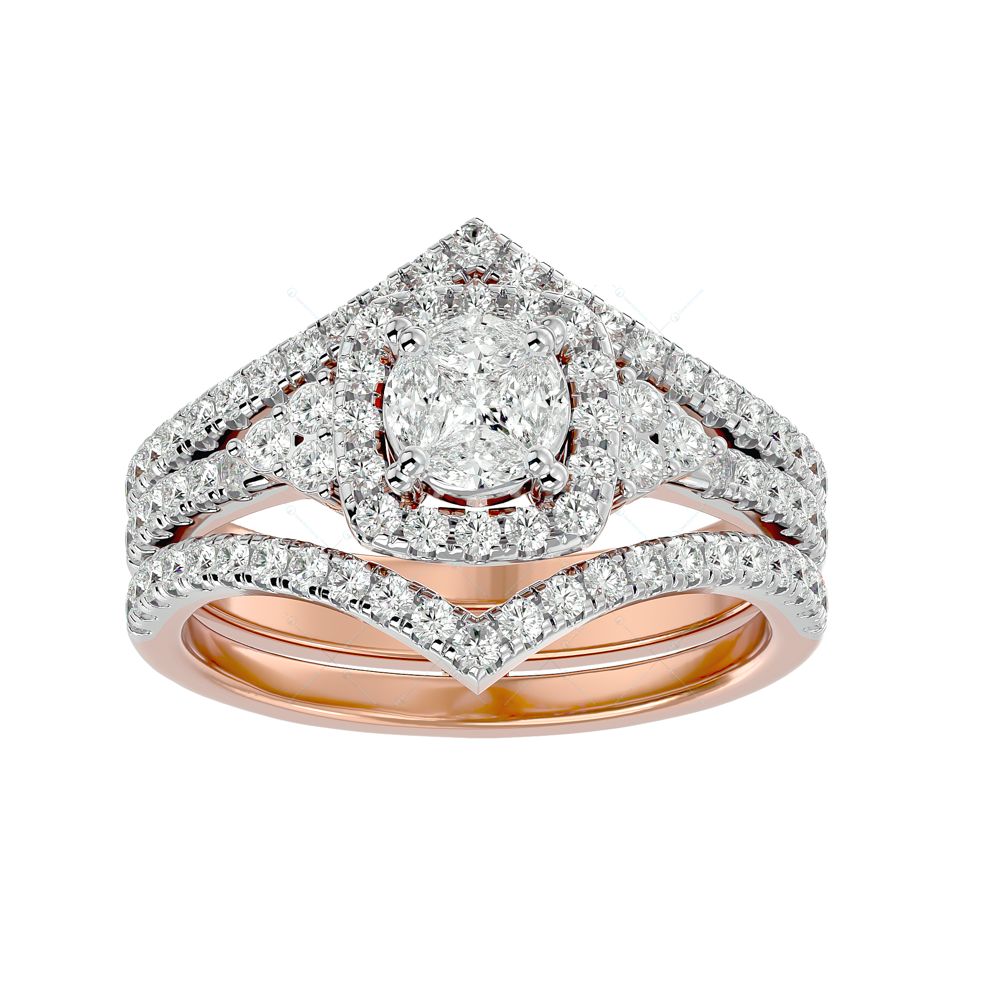 Majestic Grandeur Solitaire Illusion Diamond Ring in Pink Gold for Women v2