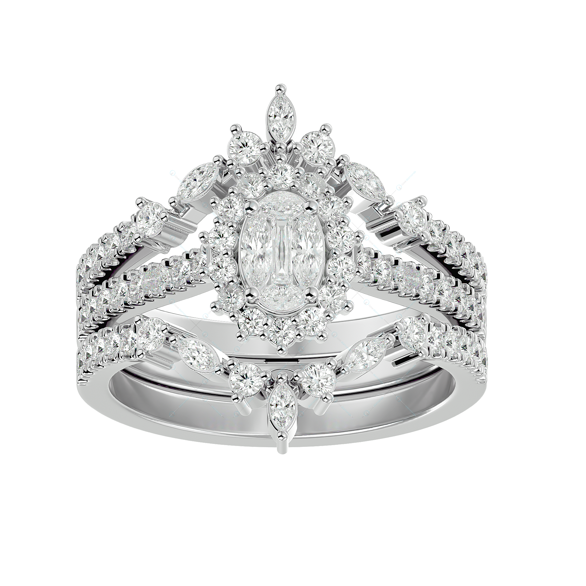 Royal Grace Solitaire Illusion Diamond Ring in White Gold for Women v2