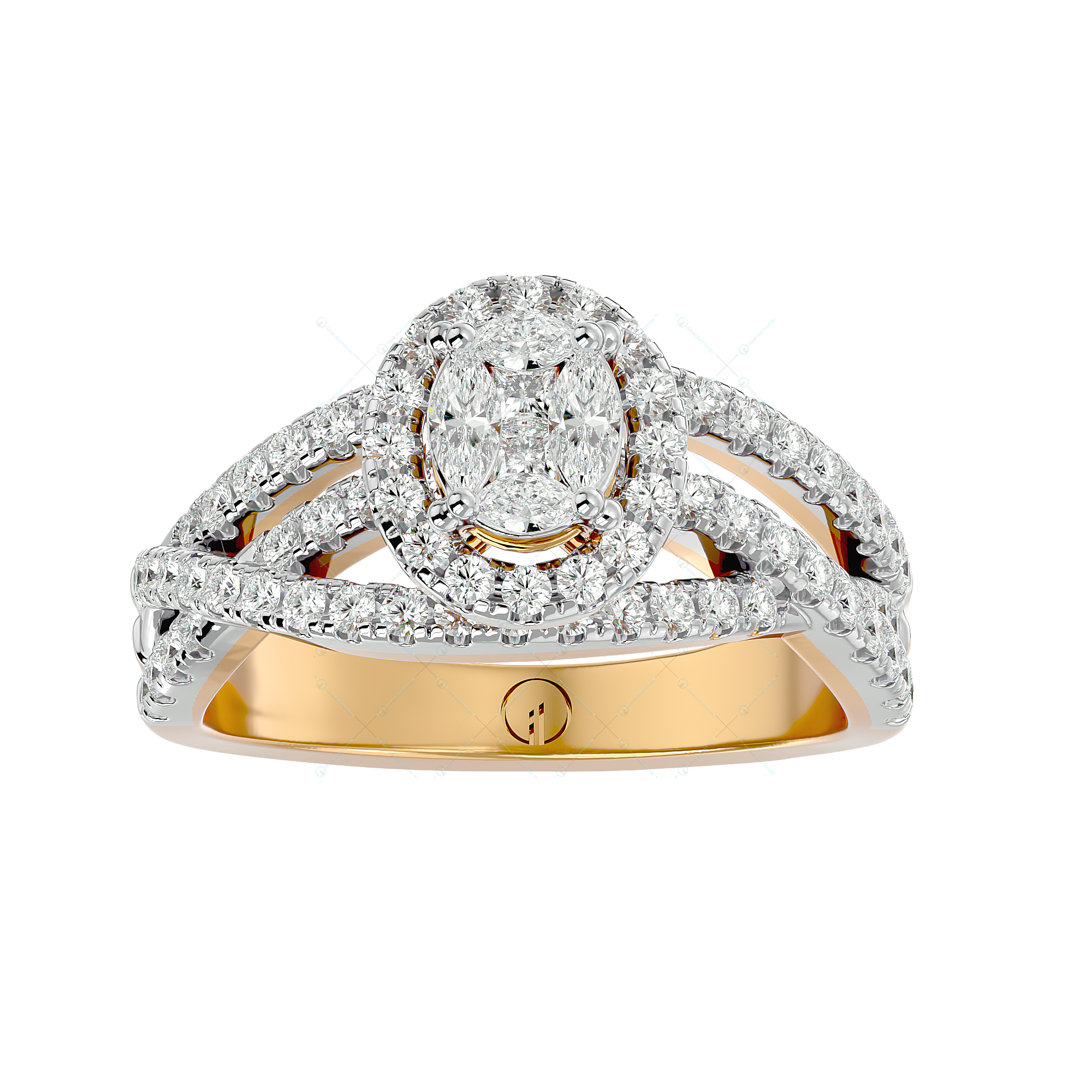 Ornate Oval Solitaire Illusion Diamond Ring in Yellow Gold for Women v2