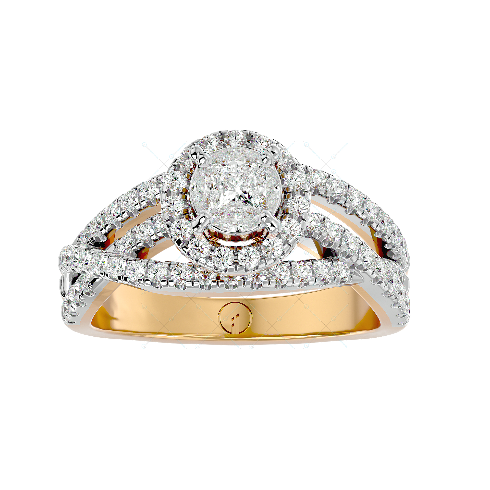 Perfect Wish Solitaire Illusion Diamond Ring in Yellow Gold for Women v2