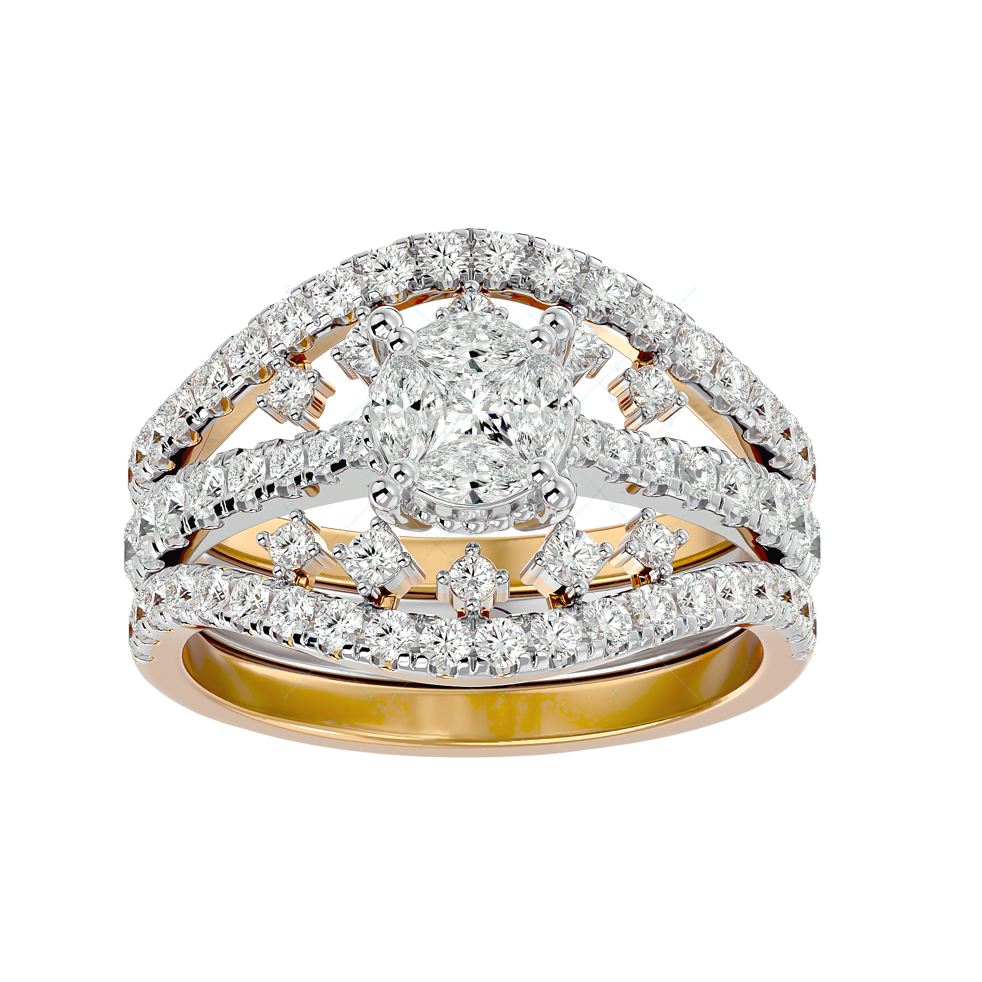 Ethereal Elegance Solitaire Illusion Diamond Ring in Yellow Gold for Women v2