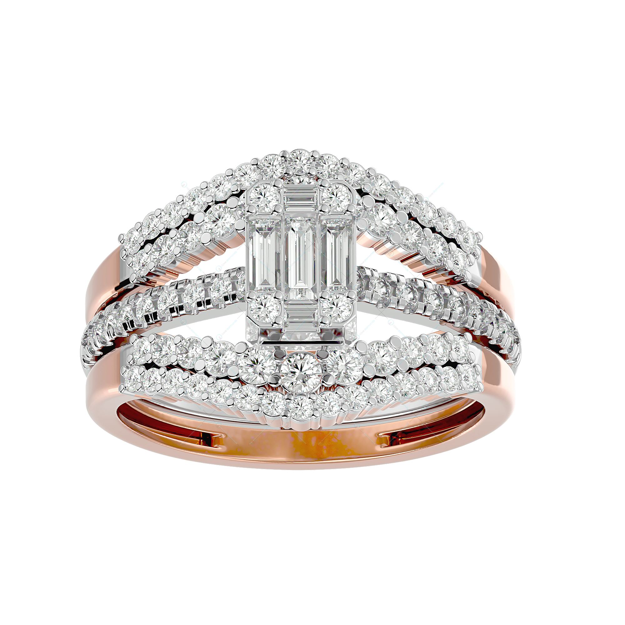 Blazing Bright Solitaire Illusion Diamond Ring in Pink Gold for Women v2