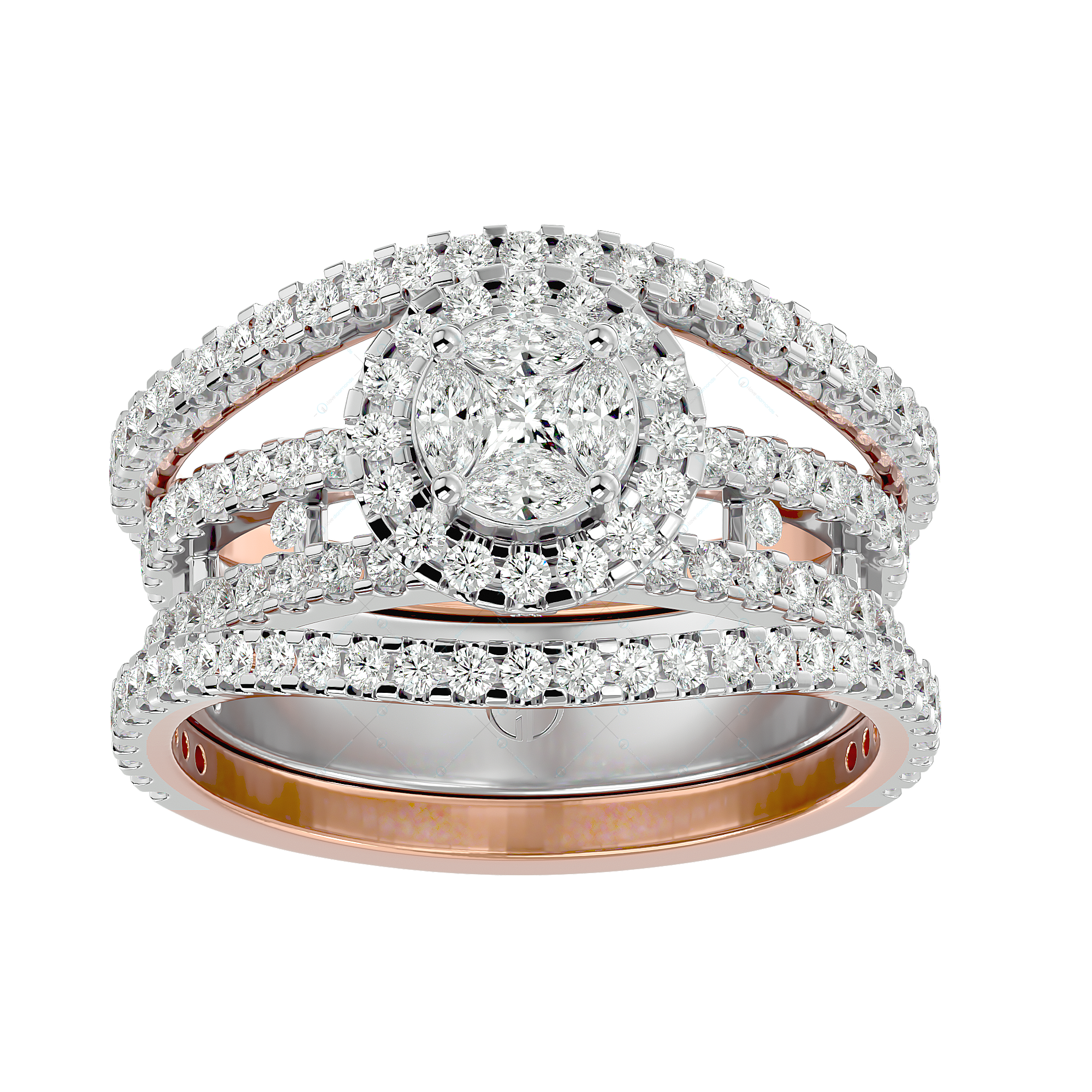 Splendid Appeal Solitaire Illusion Diamond Ring in Yellow Gold for Women v2
