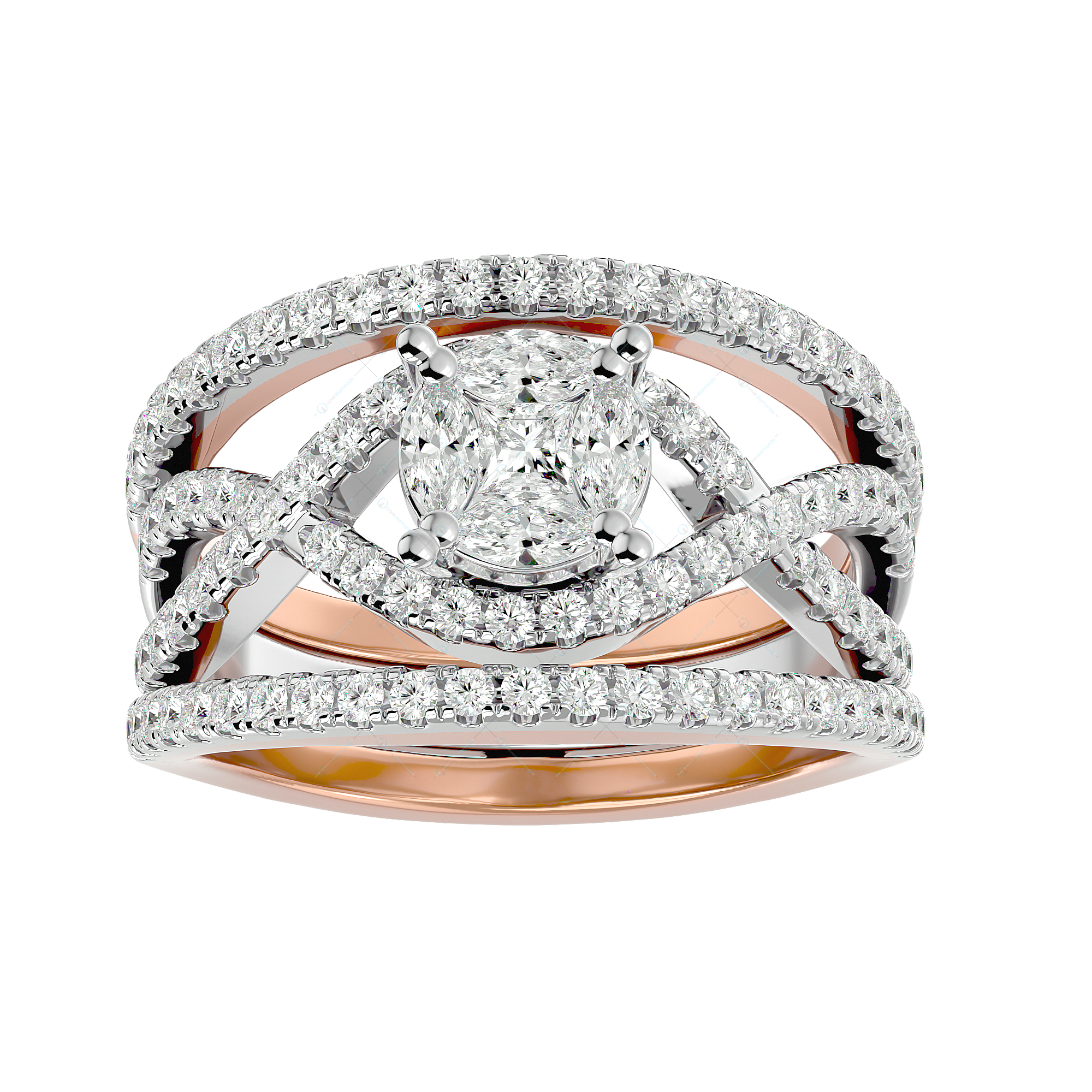 Fiery Sparkles Solitaire Illusion Diamond Ring in Pink Gold for Women v2