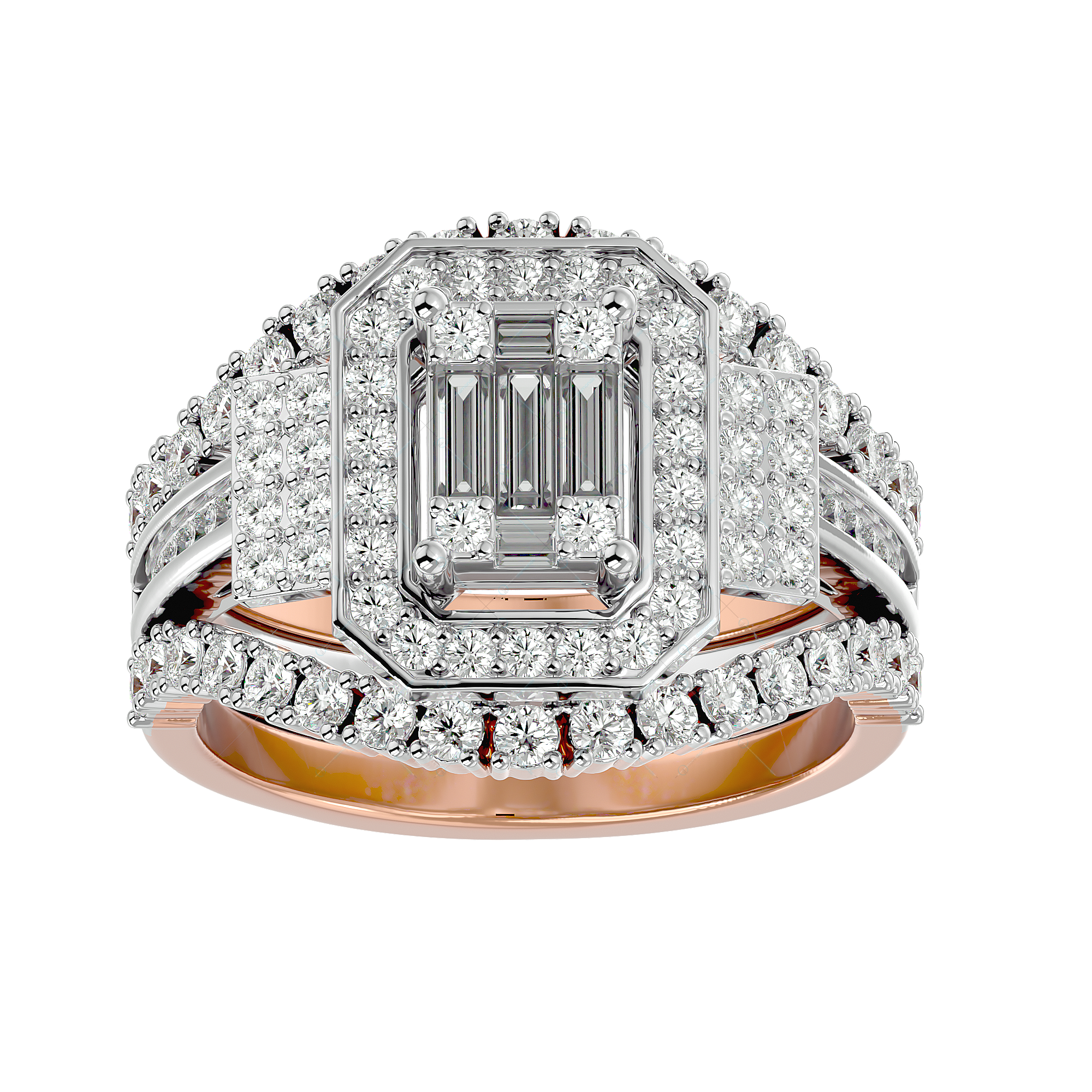 Endless Sunshine Solitaire Illusion Diamond Ring in Pink Gold for Women v2