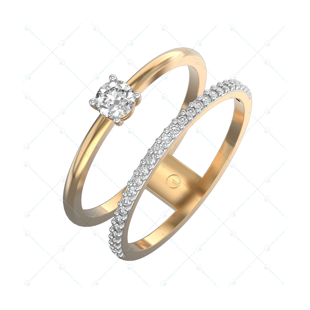 0.15 Glittering Gap Solitaire Engagement Ring in Yellow Gold for Women v1