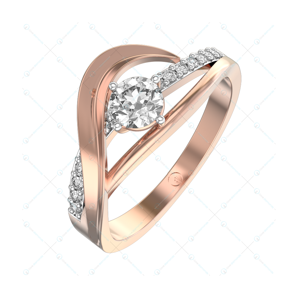 0.30 ct Feisty Diva Solitaire Engagement Ring in Pink Gold For Women v1