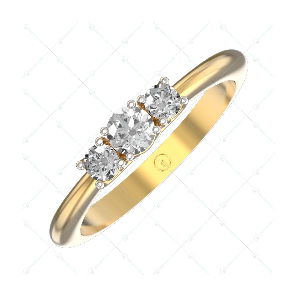 0.20 ct Triplet Twinkle Solitaire Engagement Ring In Yellow Gold For Women v1
