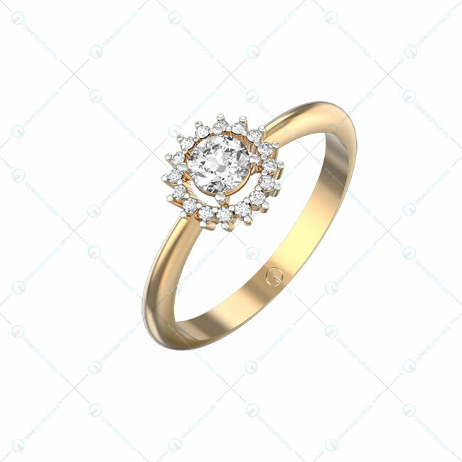 0.30 Ct Sirius Splendour Solitaire Engagement Ring In Yellow Gold For Women (Halo) v1