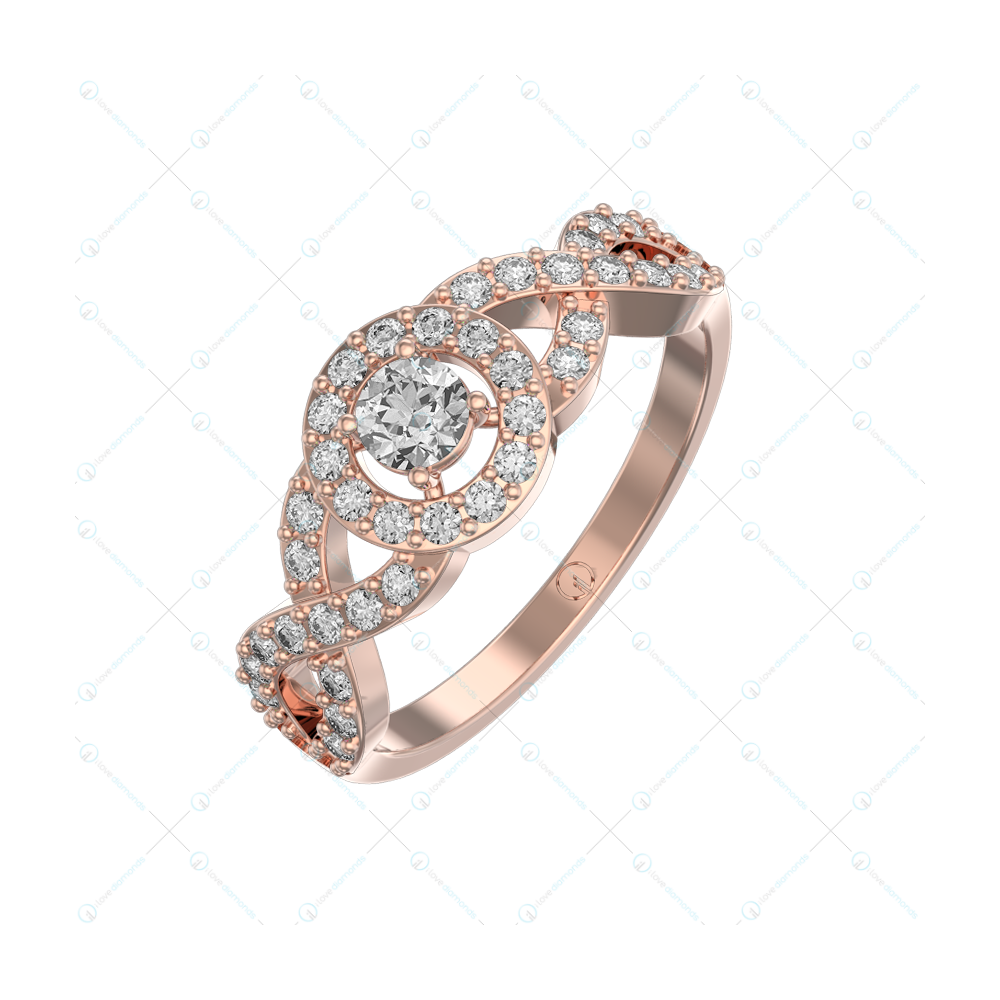 0.20 Ct Circlet Of Charm Solitaire Engagement Ring In Pink Gold For Women v1