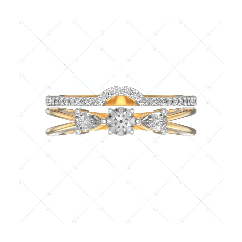 Dazzling Diva 2 In 1 Stackable Diamond Ring In Yellow Gold For Women v2