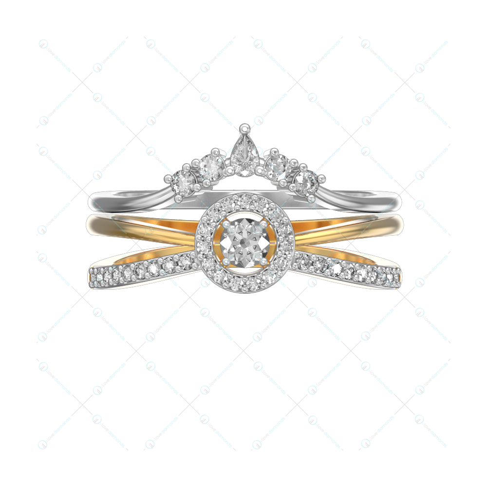 Crown Of Contessa 2 In 1 Stackable Diamond Ring In Yellow Gold For Women v2