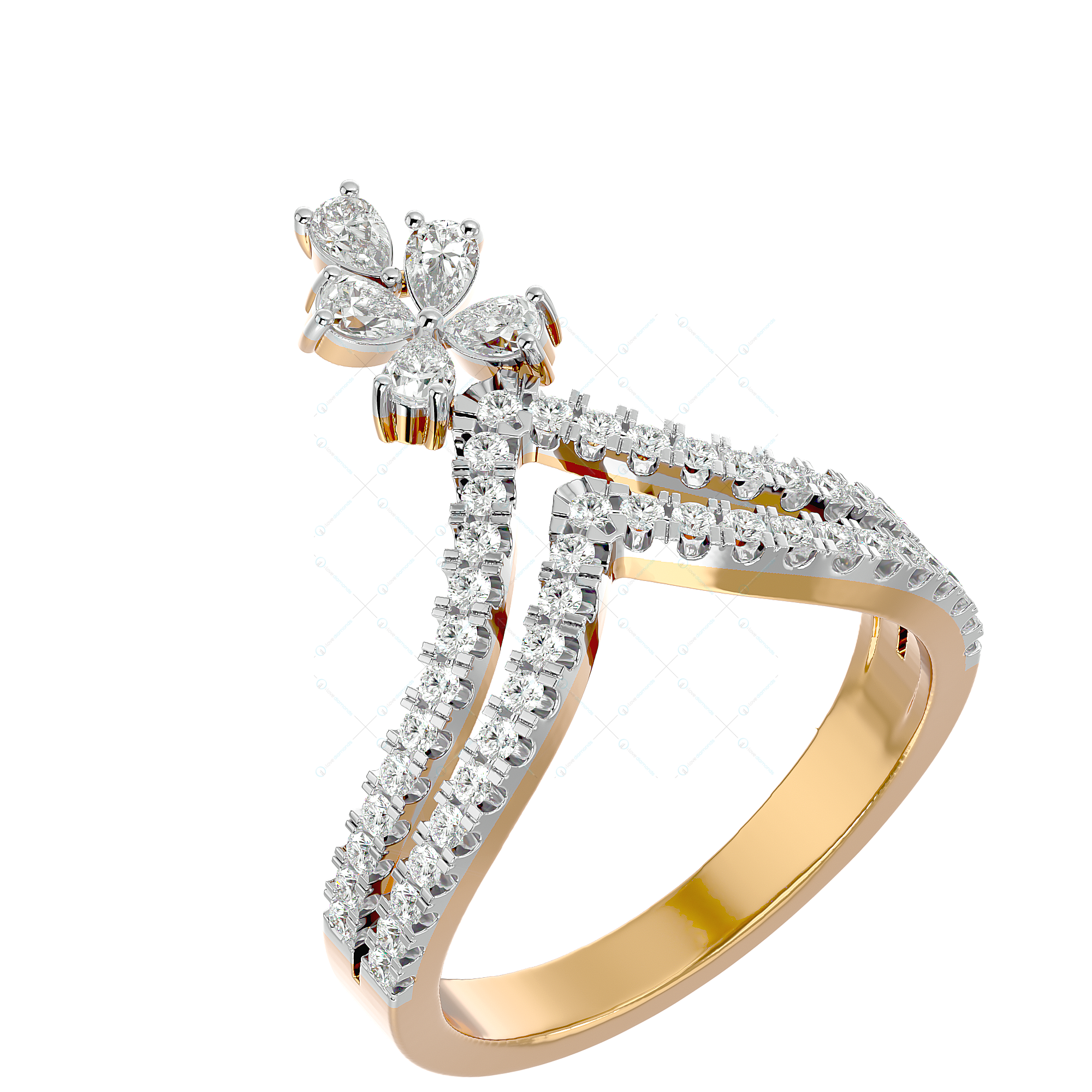 Queenly Awe Diamond Ring In Yellow Gold For Women v1