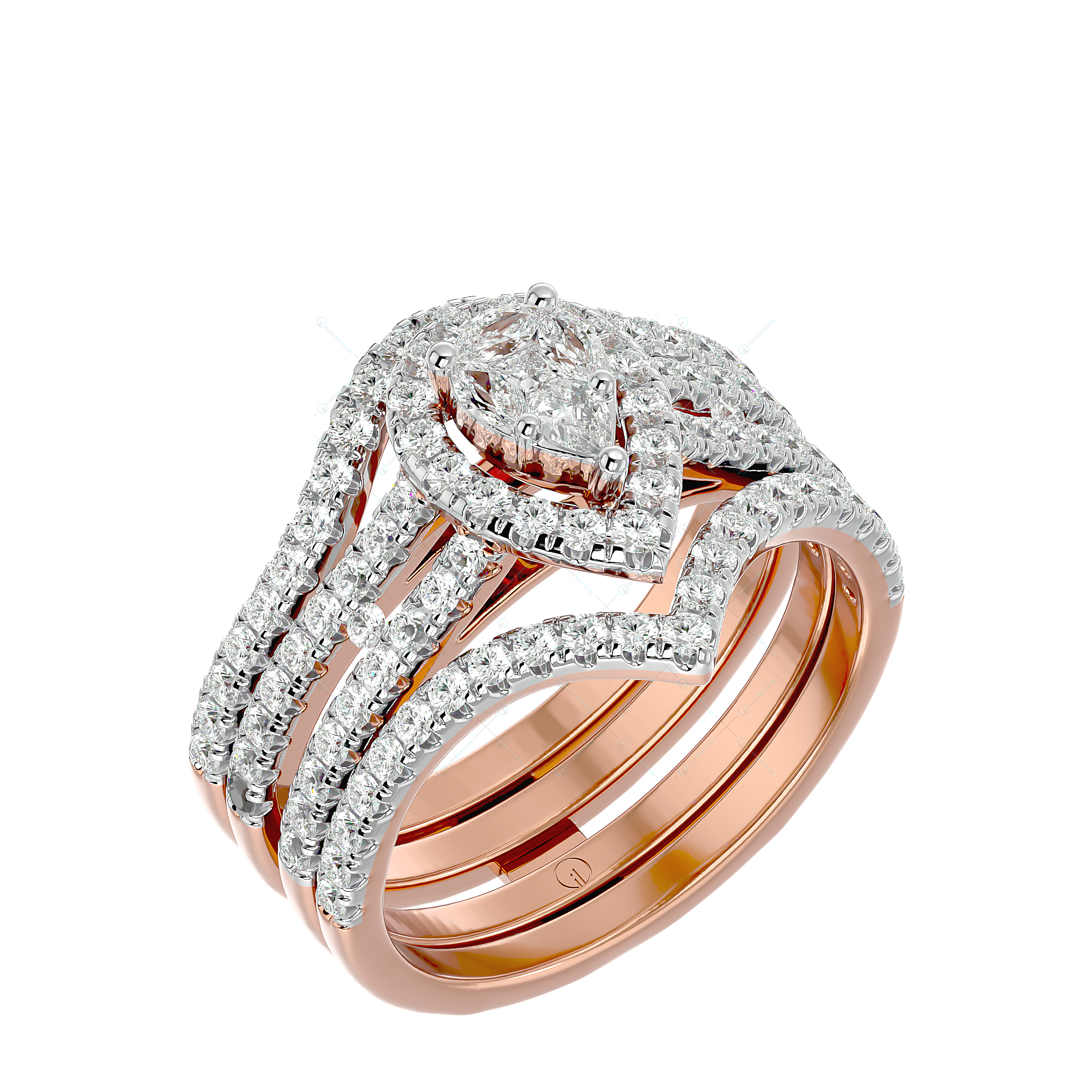 Luxurious Solitaire Illusion Diamond Ring in Pink Gold for Women v1
